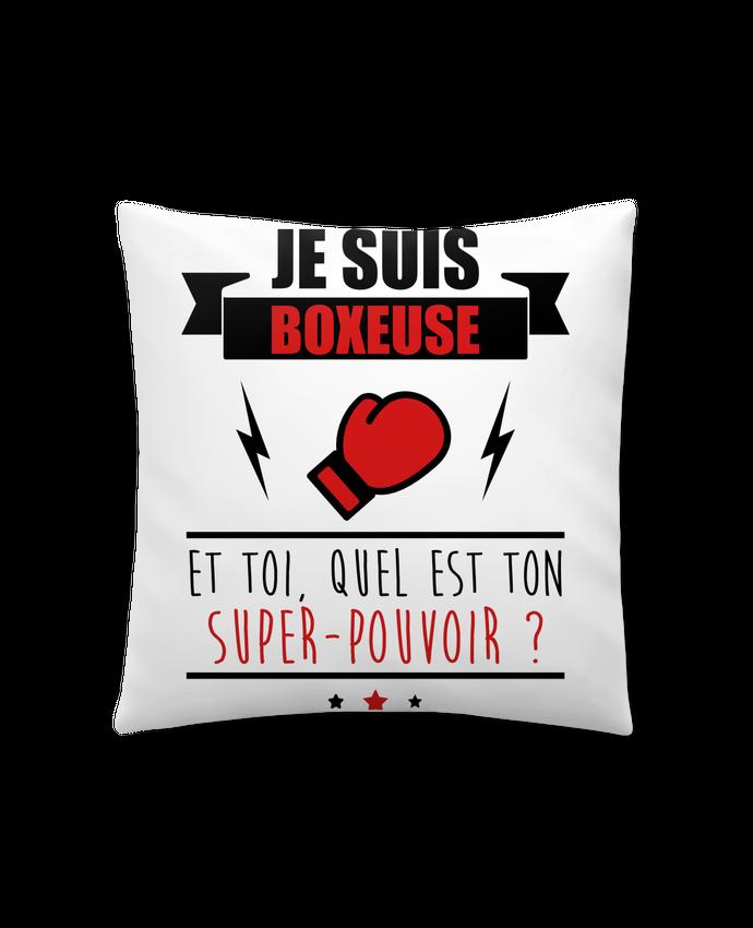 Coussin Synthétique Doux 41 x 41 cm Je suis boxeuse et toi, quel est ton super-pouvoir ? par Benichan