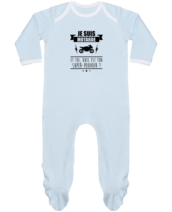 Pyjama Bébé Manches Longues Contrasté Je suis motarde et toi, quel est ton super-pouvoir ? par Benichan