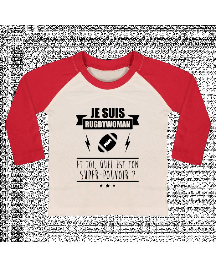 T-shirt Bébé Baseball Manches Longues Je suis rugbywoman et toi, quel est ton super-pouvoir ? par Benichan