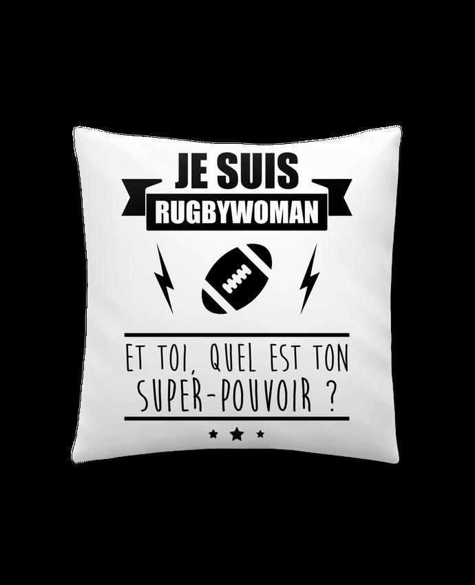 Coussin Synthétique Doux 41 x 41 cm Je suis rugbywoman et toi, quel est ton super-pouvoir ? par Benichan