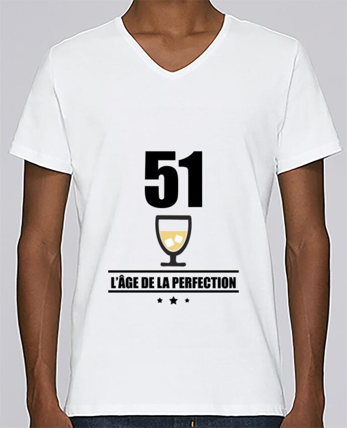 T-shirt Col V Homme Stanley Relaxes 51 ans, âge de la perfection, pastis, anniversaire par Benichan