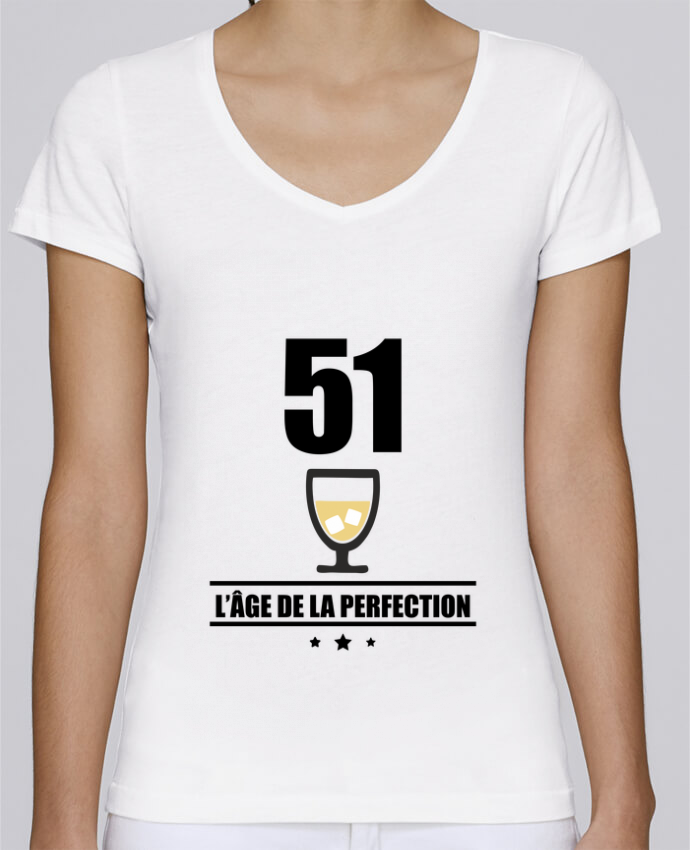 T-shirt Femme Col V Stella Chooses 51 ans, âge de la perfection, pastis, anniversaire par Benichan