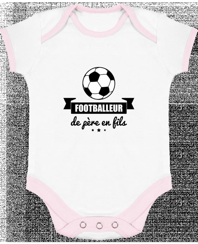 Body bébé manches contrastées Footballeur de père en fils, foot, football par Benichan