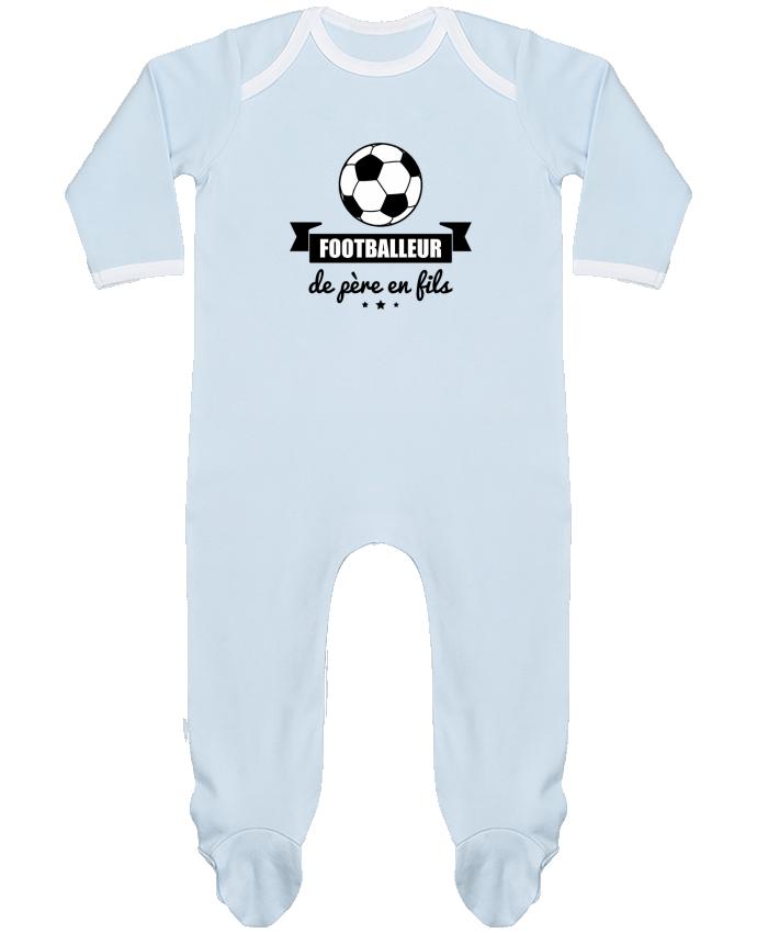 Pyjama Bébé Manches Longues Contrasté Footballeur de père en fils, foot, football par Benichan