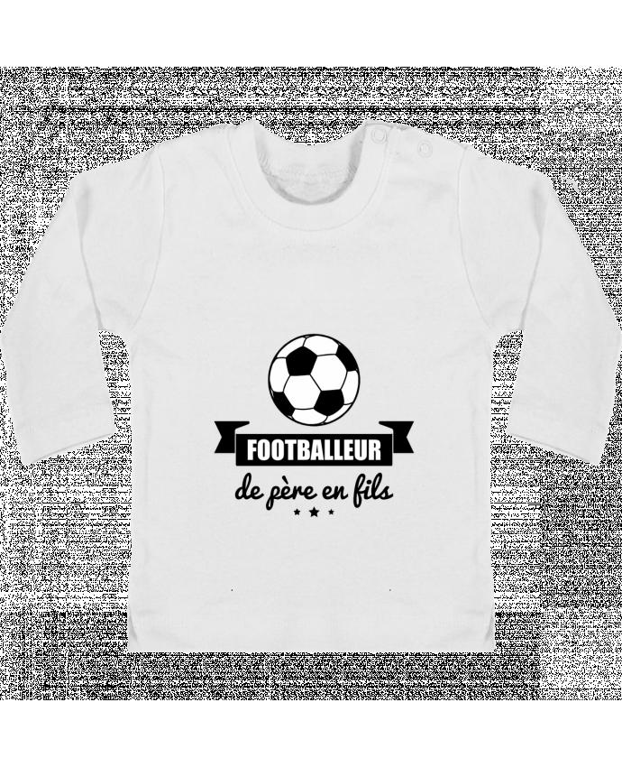 T-shirt Bébé Manches Longues Boutons Pression Footballeur de père en fils, foot, football manches longues du designer Benichan