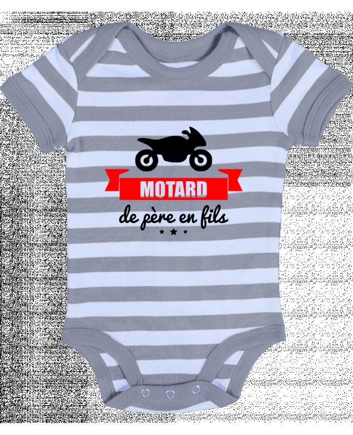 Body Bébé à Rayures Motard de père en fils, moto, motard - Benichan