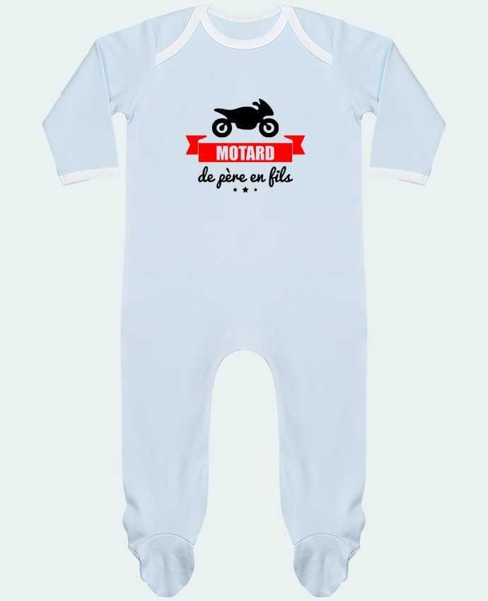Pyjama Bébé Manches Longues Contrasté Motard de père en fils, moto, motard par Benichan