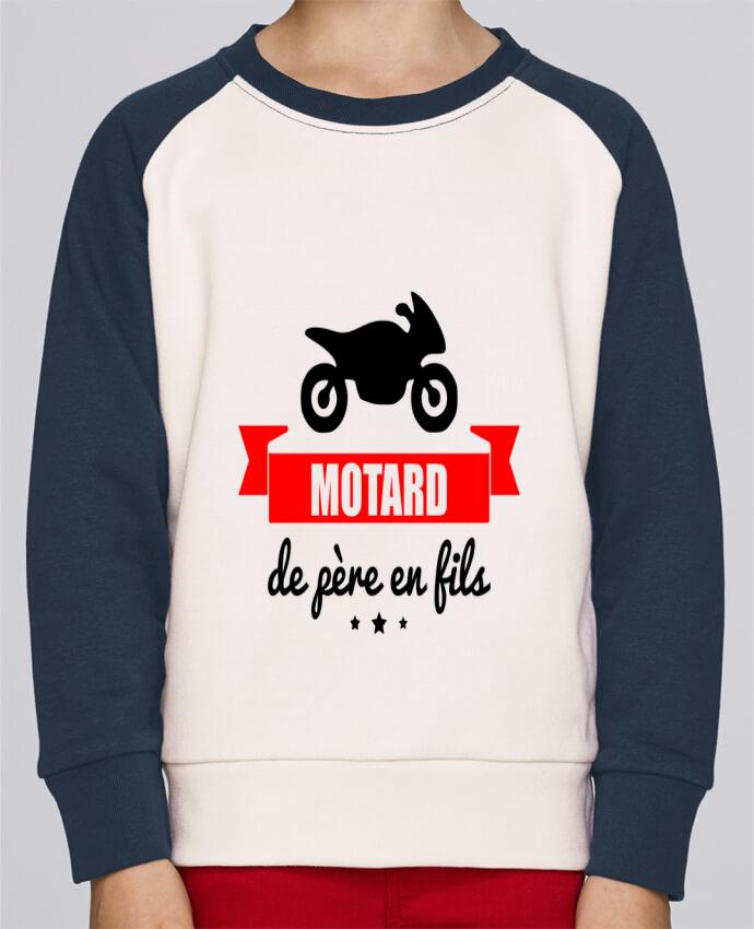 Sweat Shirt Col Rond Enfant Stanley Mini Contrast Motard de père en fils, moto, motard par Benichan