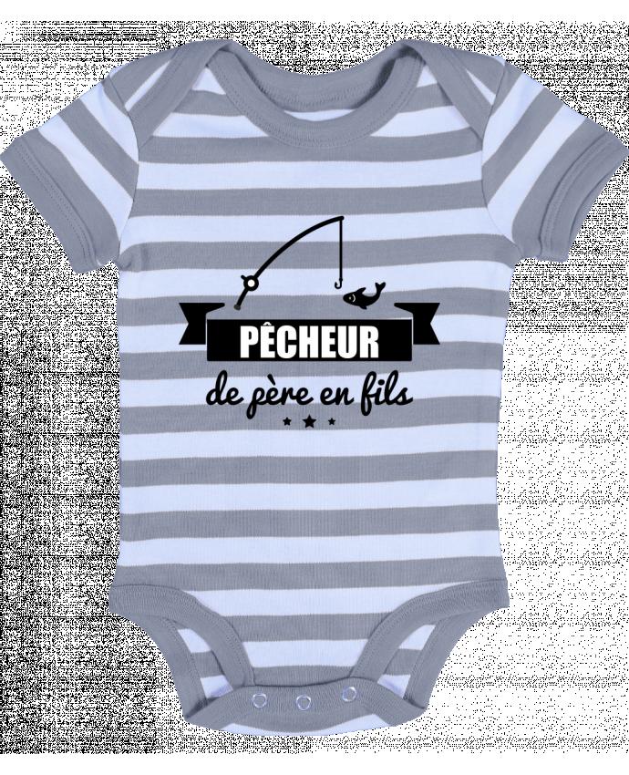 Body Bébé à Rayures Pêcheur de père en fils, pêcheur, pêche - Benichan