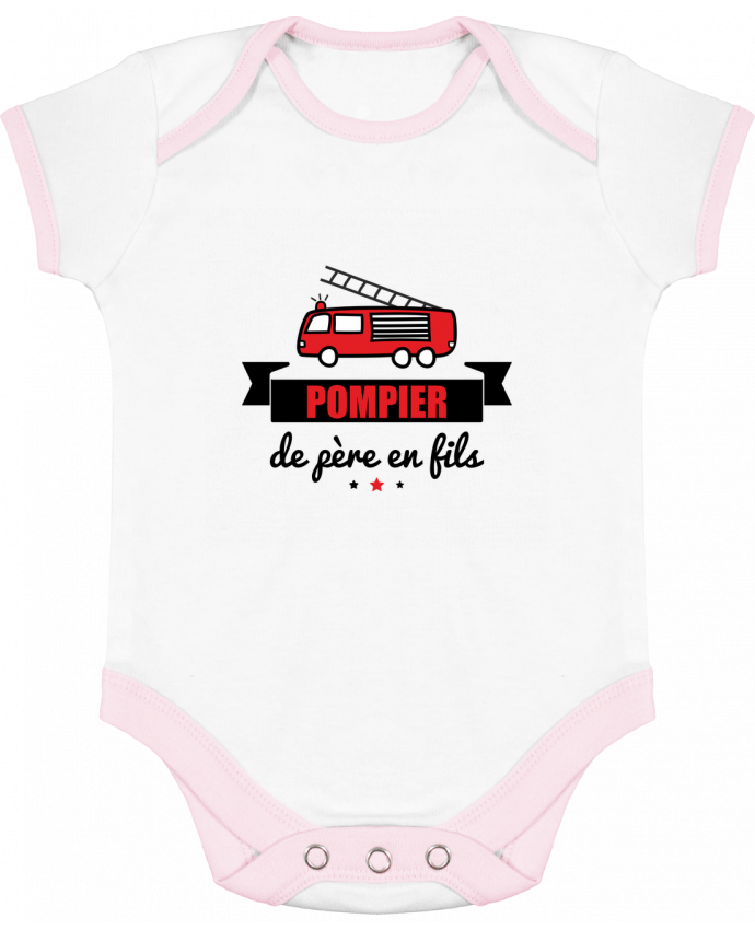 Body Bébé Contrasté Pompier de père en fils, pompier par Benichan