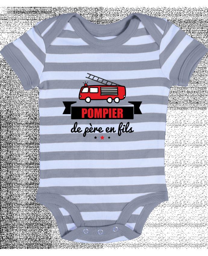 Body Bébé à Rayures Pompier de père en fils, pompier - Benichan