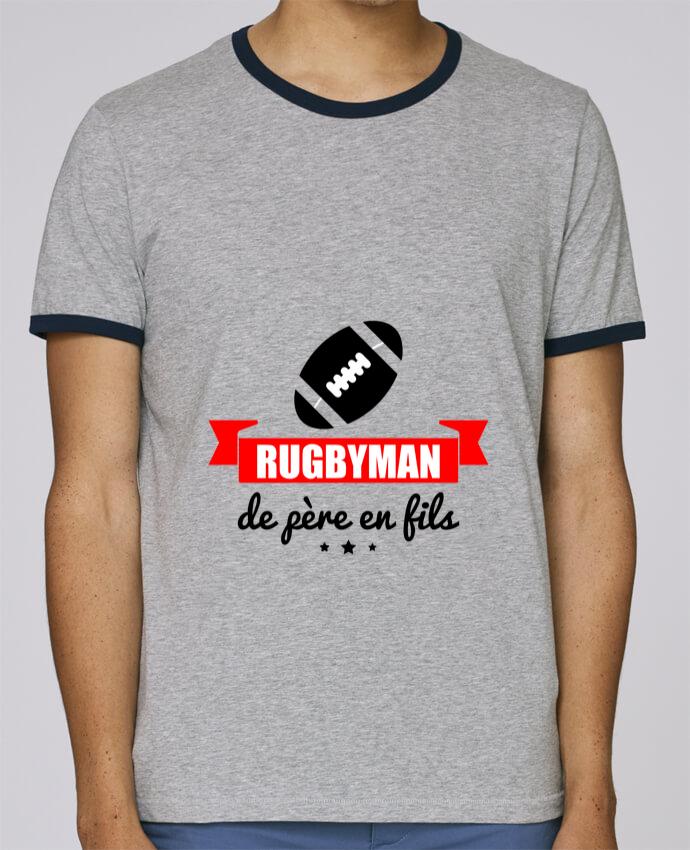 T-Shirt Ringer Contrasté Homme Stanley Holds Rugbyman de père en fils, rugby, rugbyman pour femme par Benichan