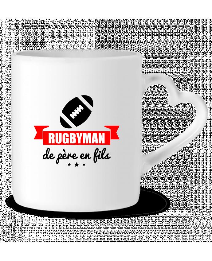 Mug Coeur Rugbyman de père en fils, rugby, rugbyman par Benichan