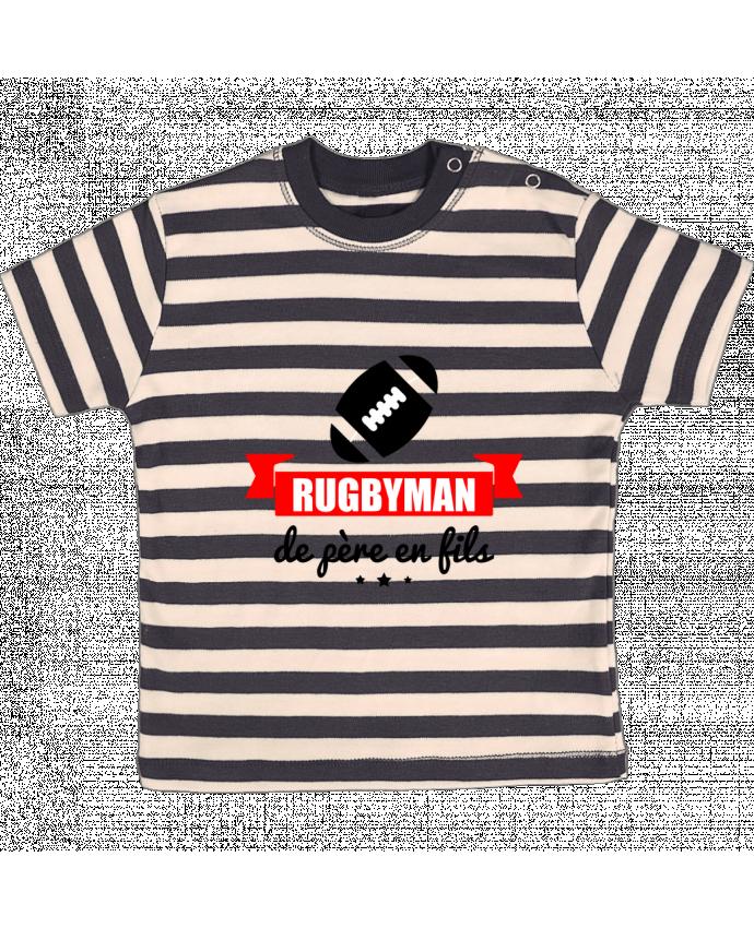 T-shirt Bébé à Rayures Rugbyman de père en fils, rugby, rugbyman par Benichan
