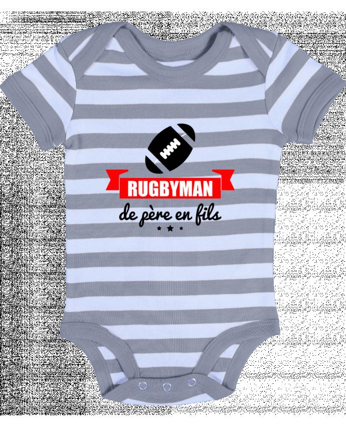 Body Bébé à Rayures Rugbyman de père en fils, rugby, rugbyman - Benichan