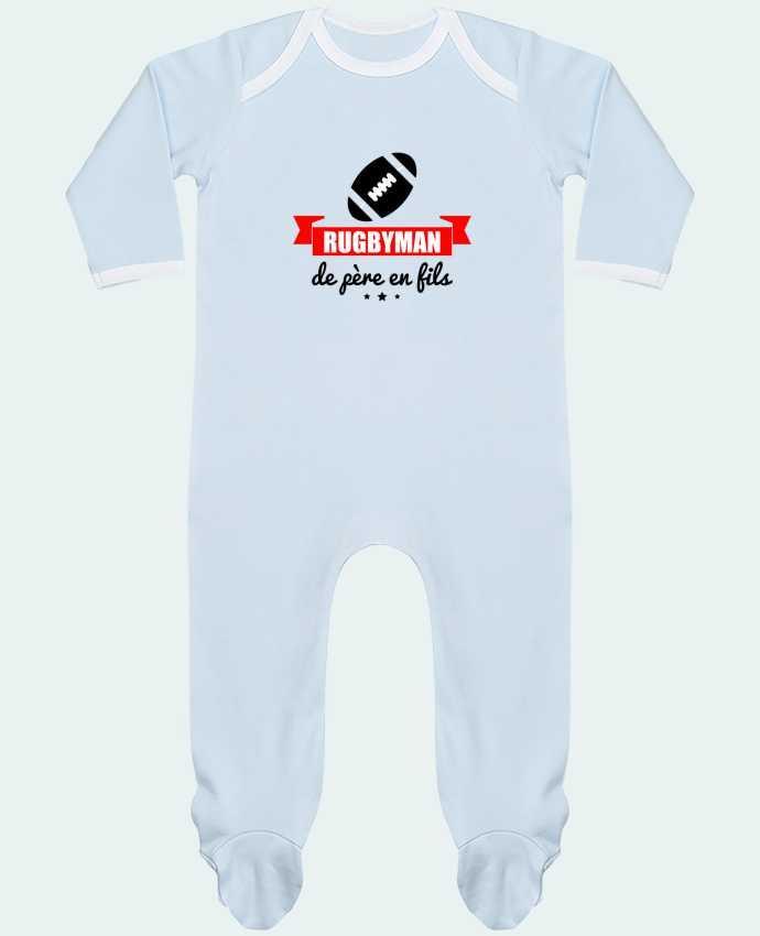 Pyjama Bébé Manches Longues Contrasté Rugbyman de père en fils, rugby, rugbyman par Benichan