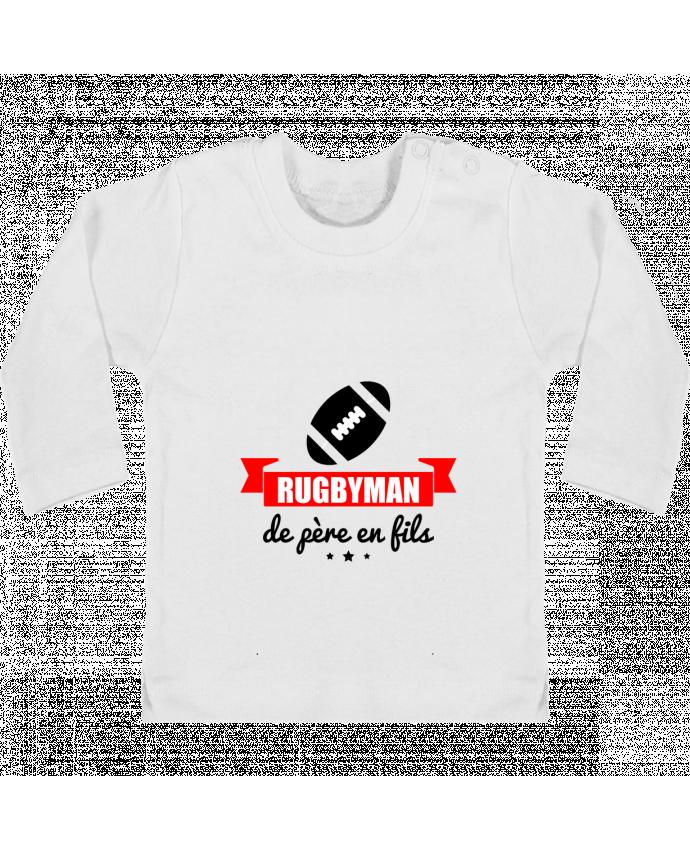 T-shirt Bébé Manches Longues Boutons Pression Rugbyman de père en fils, rugby, rugbyman manches longues du designer Benichan