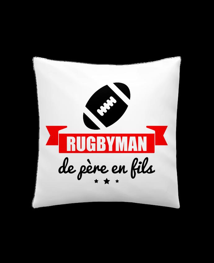 Coussin Synthétique Doux 41 x 41 cm Rugbyman de père en fils, rugby, rugbyman par Benichan