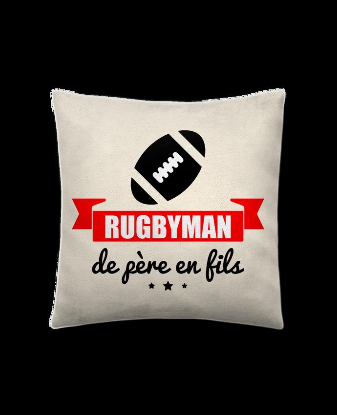 Coussin Toucher Peau de Pêche 41 x 41 cm Rugbyman de père en fils, rugby, rugbyman par Benichan
