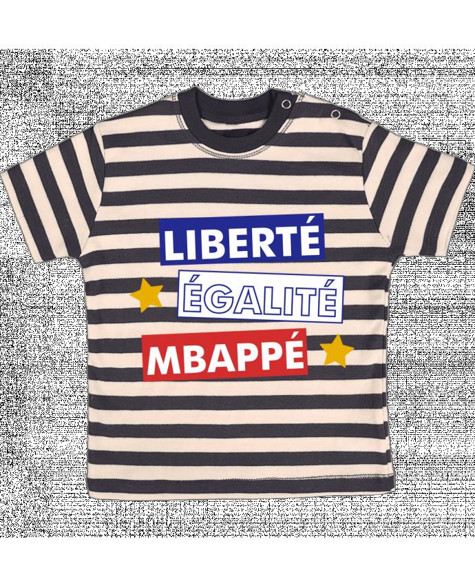T-shirt Bébé à Rayures Equipe de France MBappé par tunetoo
