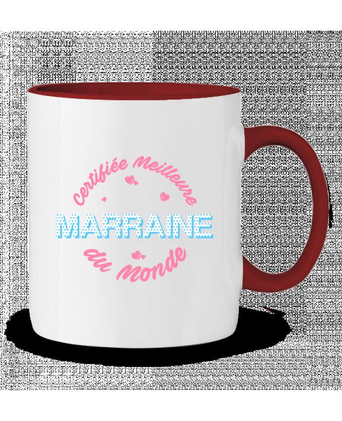 Mug en Céramique Bicolore Certifiée meilleure marraine du monde tunetoo