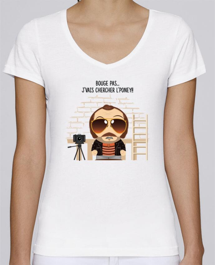 T-shirt Femme Col V Stella Chooses Claudy Focan et le Poney par PTIT MYTHO