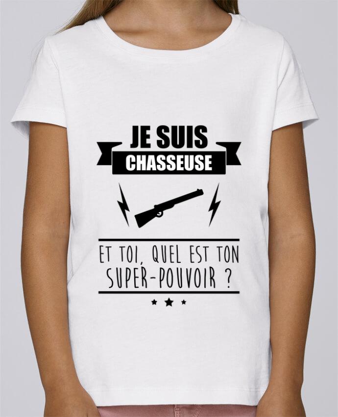 T-shirt Fille Mini Stella Draws Je suis chasseuse et toi, quel est ton super-pouvoir ? par Benichan