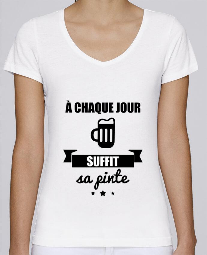T-shirt Femme Col V Stella Chooses À chaque jour suffit sa pinte, bière, apéro, alcool par Benichan