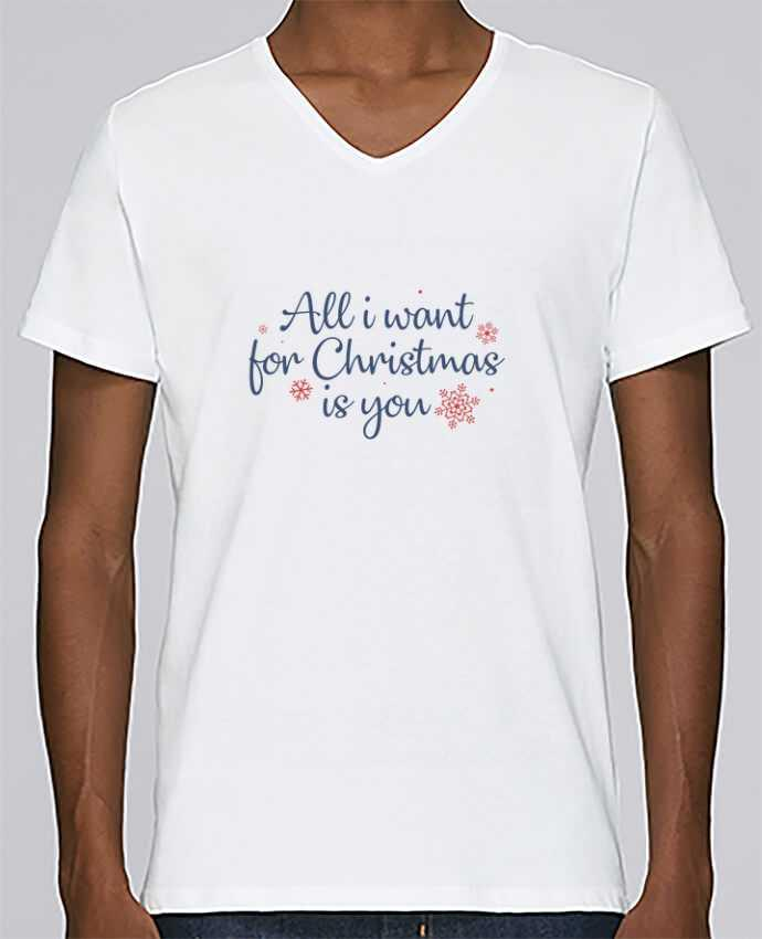 T-shirt Col V Homme Stanley Relaxes All i want for christmas is you par Nana