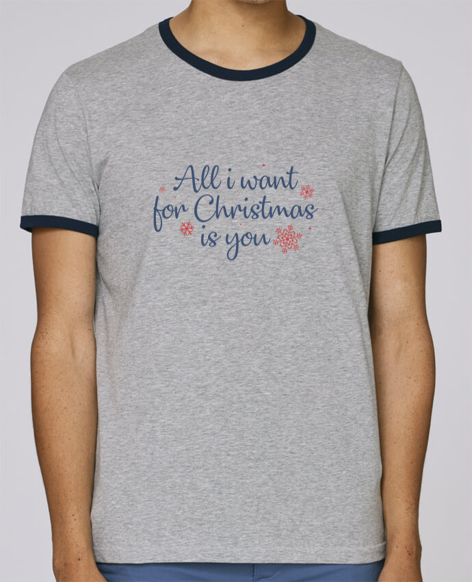 T-Shirt Ringer Contrasté Homme Stanley Holds All i want for christmas is you pour femme par Nana