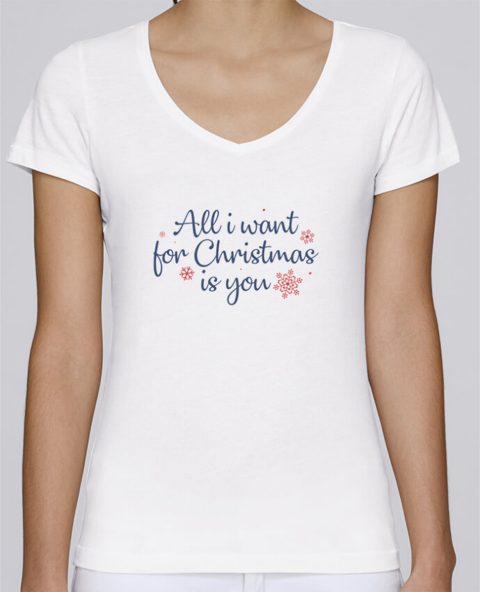 T-shirt Femme Col V Stella Chooses All i want for christmas is you par Nana