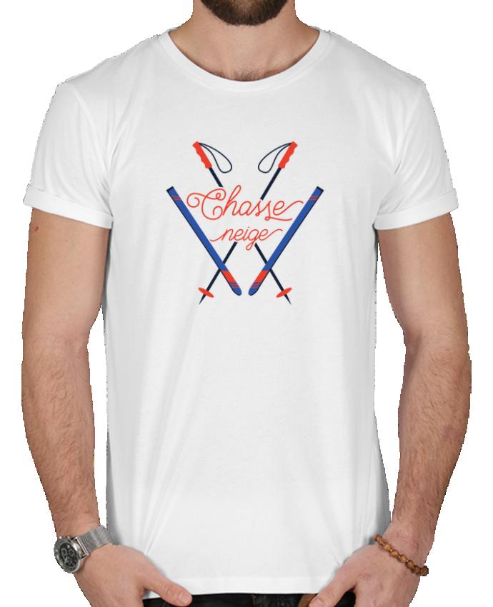 T-shirt  Homme 180g Chasse neige - design ski par tunetoo