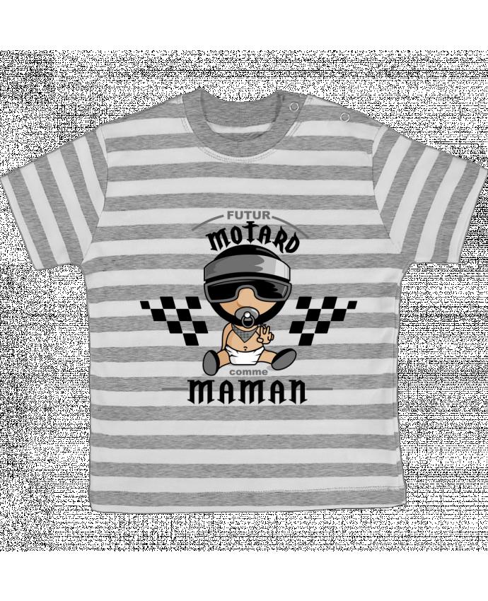 T-shirt Bébé à Rayures Futur Motard comme maman par GraphiCK-Kids