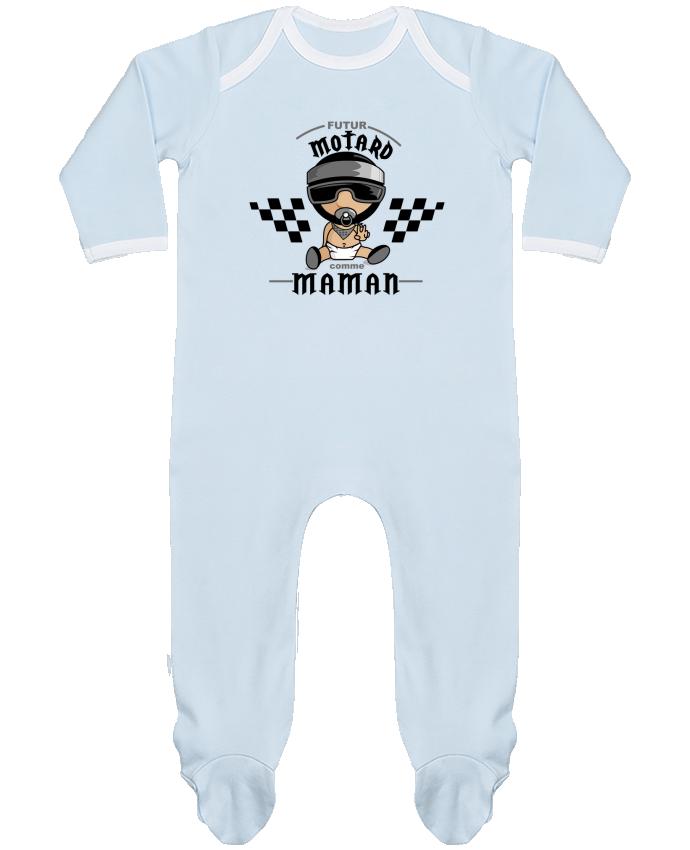 Pyjama Bébé Manches Longues Contrasté Futur Motard comme maman par GraphiCK-Kids
