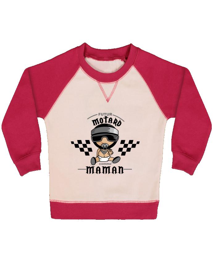 Sweat Shirt Bébé Col Rond Manches Raglan Contrastées Futur Motard comme maman par GraphiCK-Kids