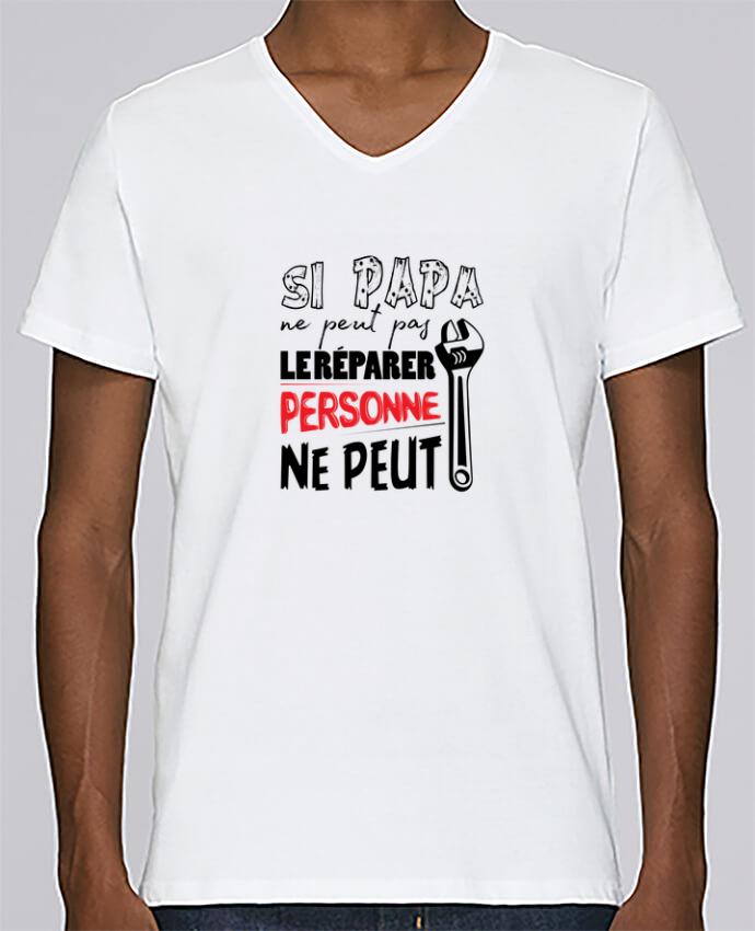 T-shirt Col V Homme Stanley Relaxes Si papa ne peut pas le réparer... par tunetoo