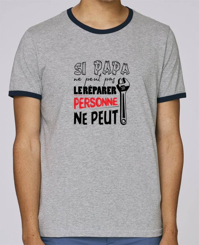 T-Shirt Ringer Contrasté Homme Stanley Holds Si papa ne peut pas le réparer... pour femme par tunetoo