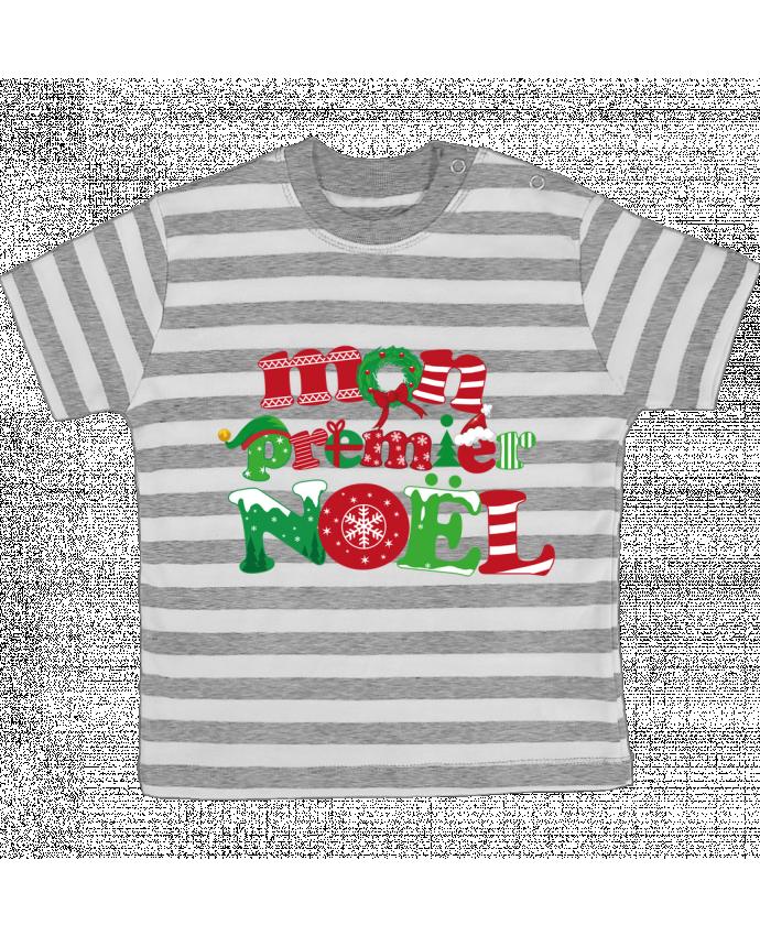 T-shirt Bébé à Rayures Mon  premier Noël par GraphiCK-Kids