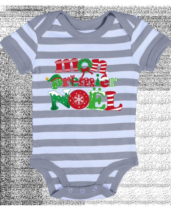 Body Bébé à Rayures Mon  premier Noël - GraphiCK-Kids