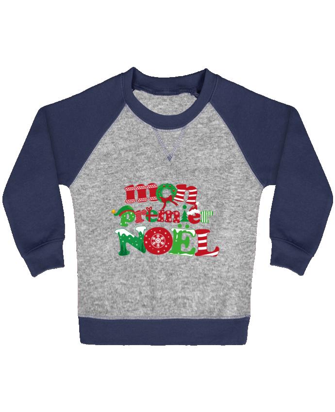 Sweat Shirt Bébé Col Rond Manches Raglan Contrastées Mon  premier Noël par GraphiCK-Kids