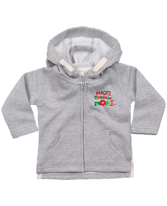 Sweat Bébé Zippé à Capuche Mon  premier Noël par GraphiCK-Kids