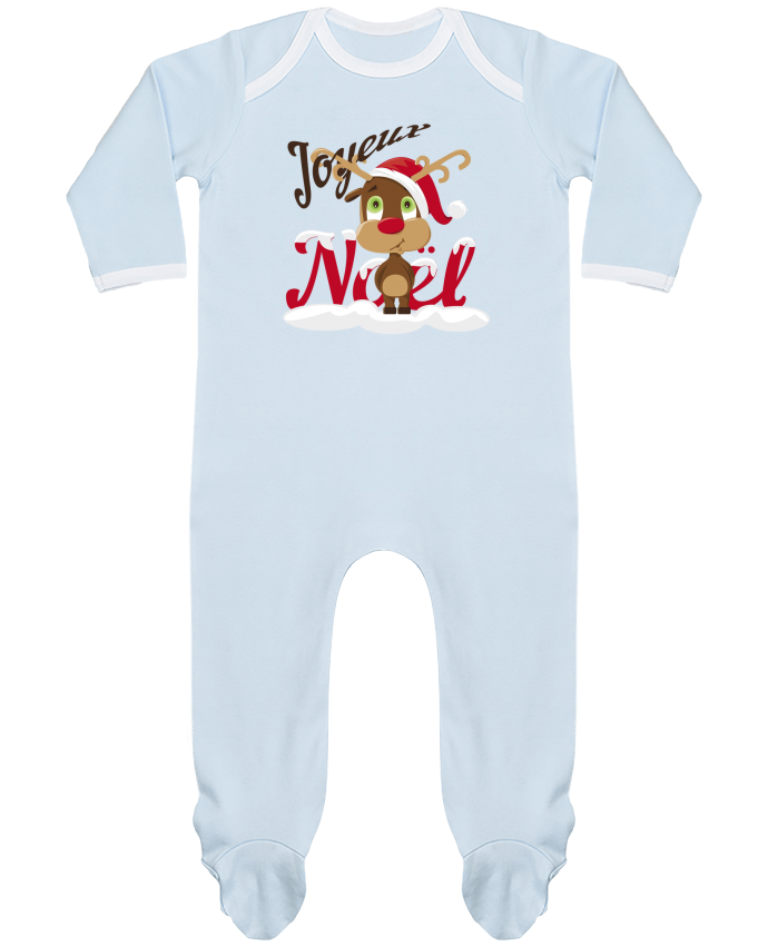 Pyjama Bébé Manches Longues Contrasté Renne Joyeux Noël Enfant par GraphiCK-Kids
