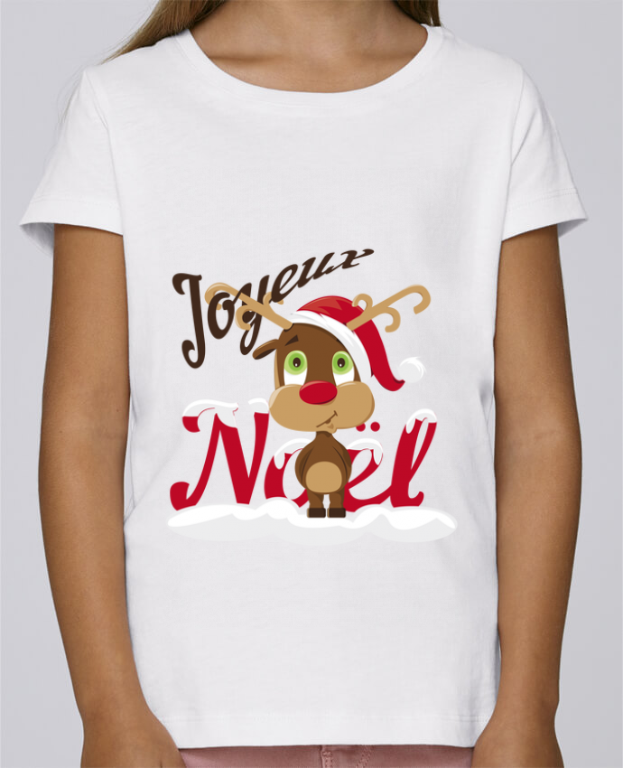 T-shirt Fille Mini Stella Draws Renne Joyeux Noël Enfant par GraphiCK-Kids