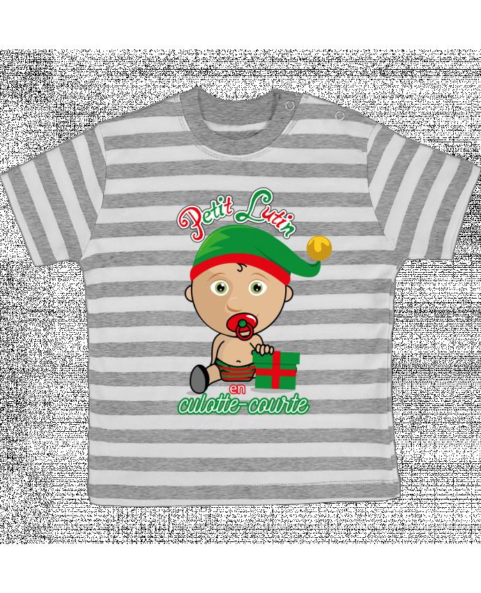 T-shirt Bébé à Rayures Petit Lutin de Noël par GraphiCK-Kids