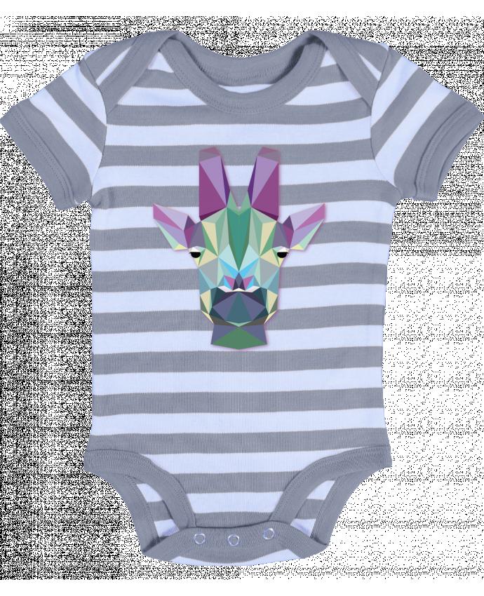 Body Bébé à Rayures Jirafa Poligonal - color indigo