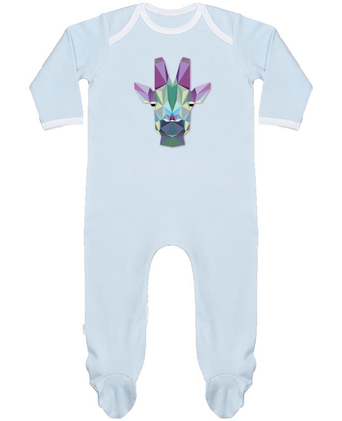 Pyjama Bébé Manches Longues Contrasté Jirafa Poligonal par color indigo