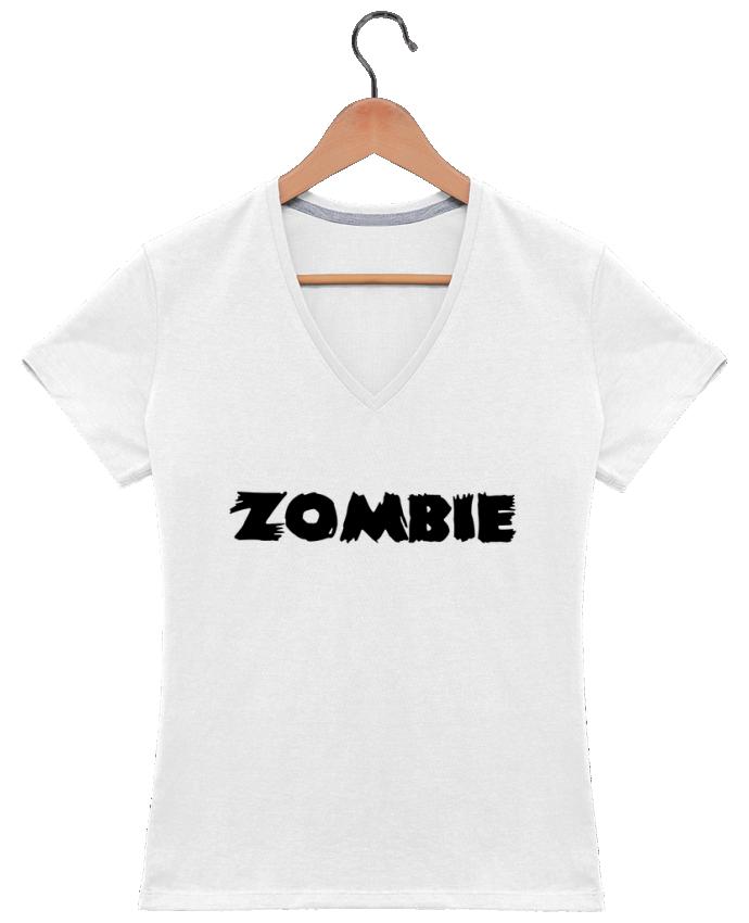 T-shirt Col V Femme 180 gr Zombie par L'Homme Sandwich