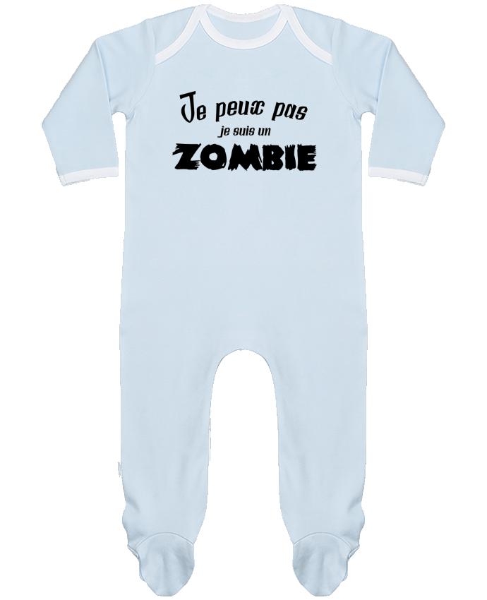 Pyjama Bébé Manches Longues Contrasté Je peux pas je suis un Zombie par L'Homme Sandwich