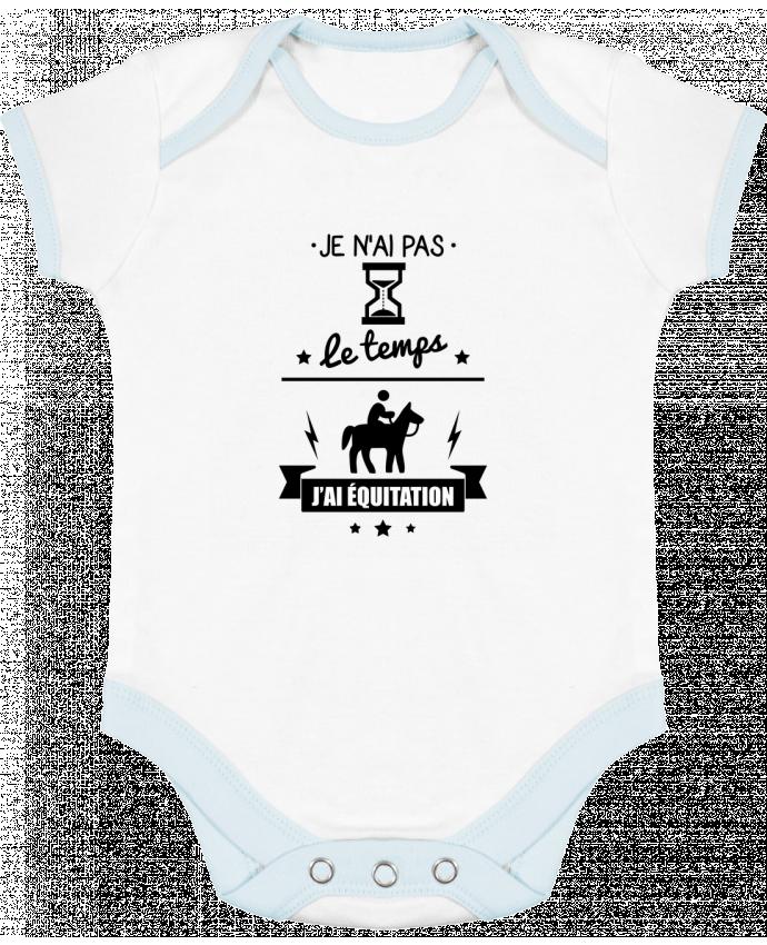 Body bébé manches contrastées Je n'ai pas le temps j'ai équitation par Benichan