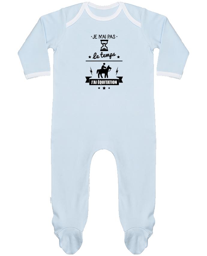 Pyjama Bébé Manches Longues Contrasté Je n'ai pas le temps j'ai équitation par Benichan